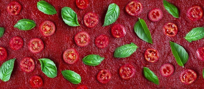 S?ml?s pizzaingrediensmodell Tomater och basilika på en röd tomatsås Lekmanna- l?genhet royaltyfri bild