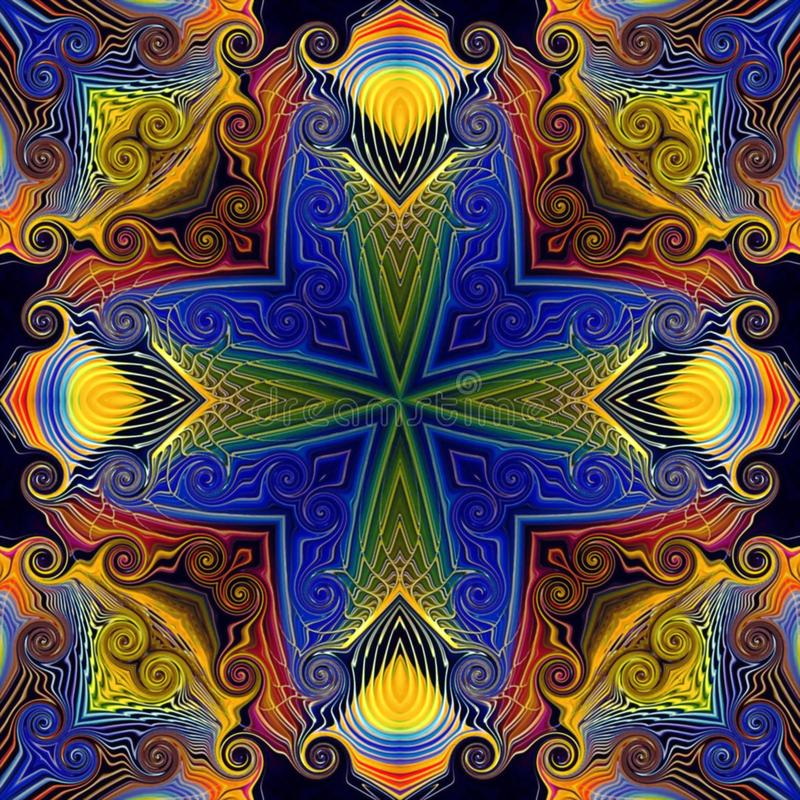S?ml?s rastermodell i modellen f?r mosaik f?r orientalisk stilblomma den psykedeliska f?r tapeten, bakgrunder, dekor f?r gobel?ng royaltyfri illustrationer