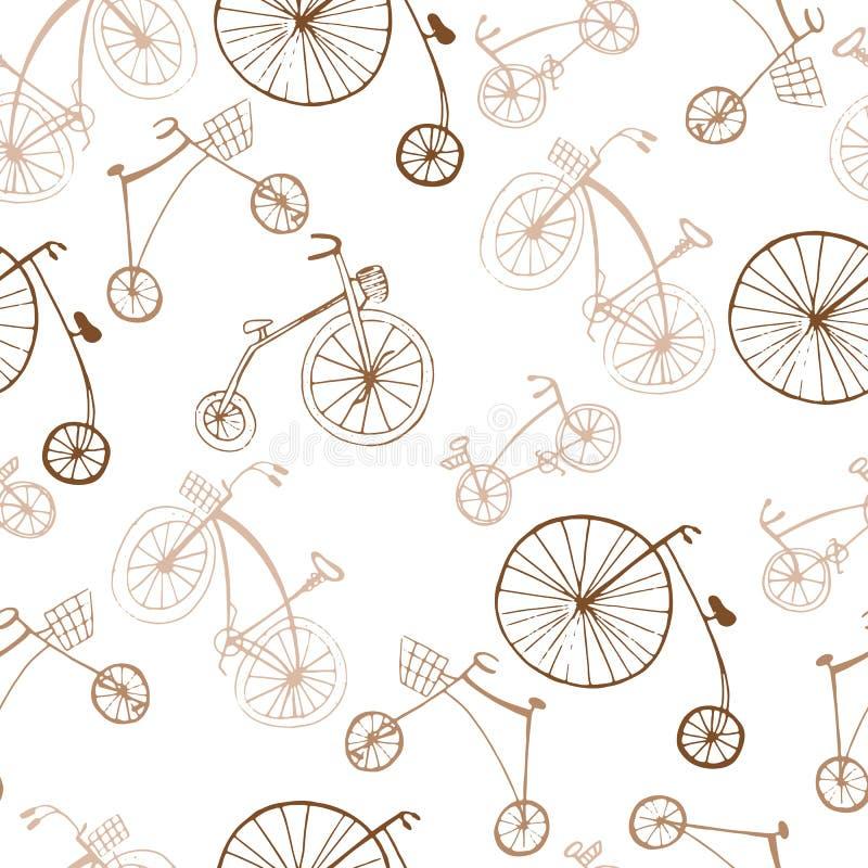 S?ml?s retro modell med cyklar - besynnerlig designvektor f?r textil eller f?r bedsheet vektor illustrationer