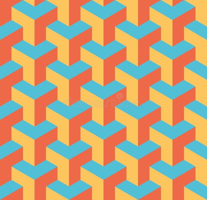 S?ml?s geometrisk modell 3D av ?verlappande kuber Abstrakt designvektorbakgrund i tre f?rger stock illustrationer