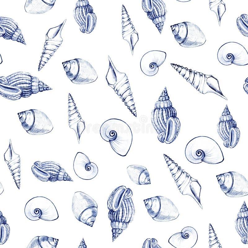 S?ml?s modell av havsskal Manuella diagram Design f?r bakgrunder, tapeter och att f?rpacka stock illustrationer
