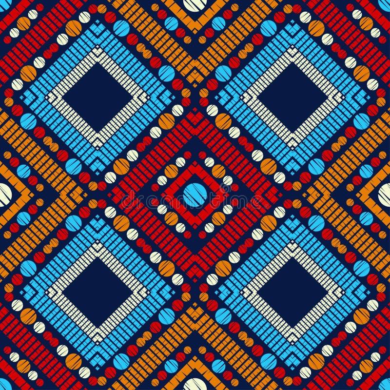 S?ml?s modell f?r prick Mosaik av etniska diagram geometrisk bakgrund stock illustrationer