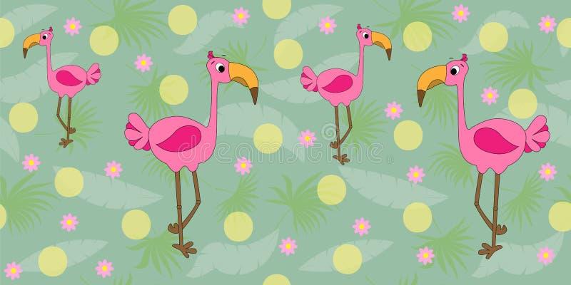 S?ml?s modell f?r vektor med flamingo och palmblad Tropisk modell med tecknad filmflamingo seamless vektor f?r illustration royaltyfri illustrationer