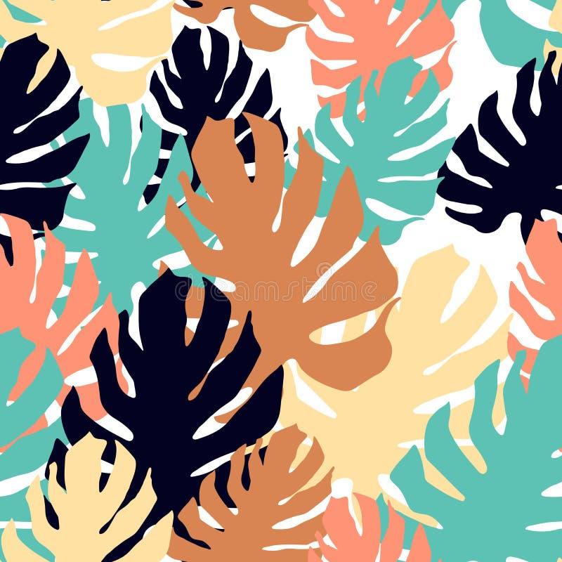 S?ml?s modell med gigantiska sidor ?verlappande konst i collagestil Ljus tropisk tapet vektor illustrationer