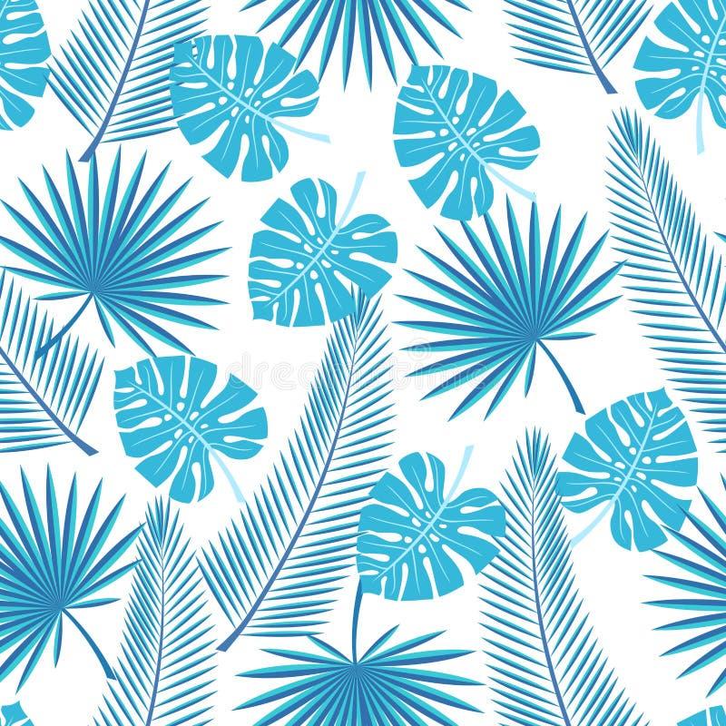 S?ml?sa tropiska sidor - g?mma i handflatan, monsteraen Sömlös bakgrund med tropiska sidor på en vit bakgrund stock illustrationer