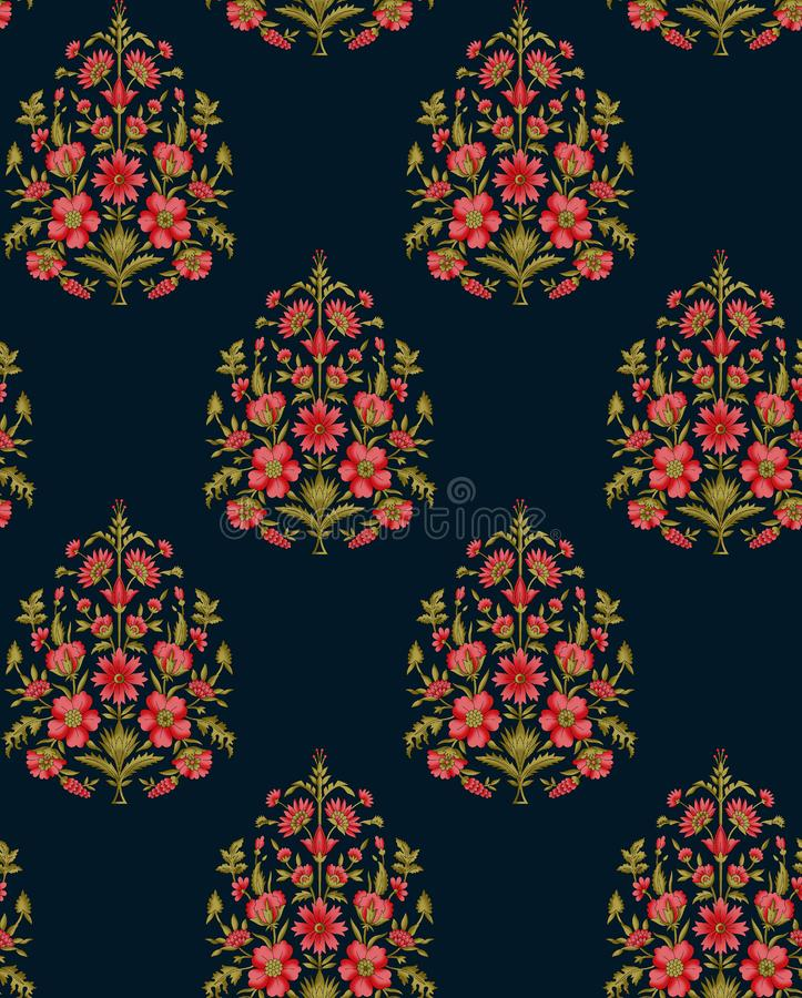 S?ml?st indiskt mughal blommamotiv royaltyfri illustrationer