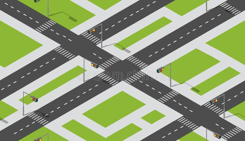 S?ml?s stads?versiktsmodell Isometrisk struktur av ett landskap stock illustrationer