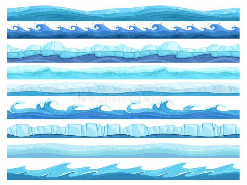 S?ml?s vattenlek Klar parallax för lager för den ishavhavet eller floden ytbehandlar vektoruisamlingen för lekar royaltyfri illustrationer