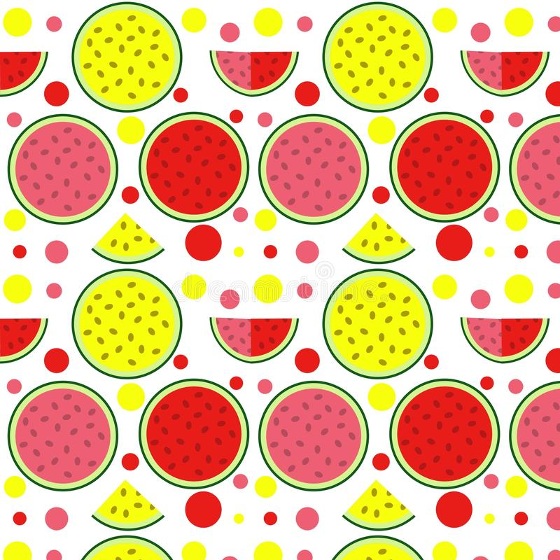 S?ml?s vattenmelonmodell Vektorbakgrund med vattenf?rgvattenmelonskivor stock illustrationer