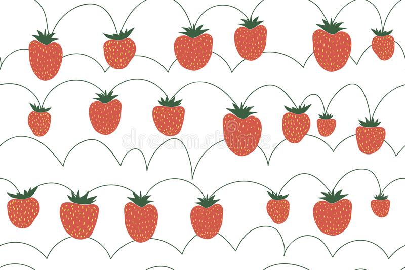 S?ml?s vektormodell med jordgubbar stock illustrationer