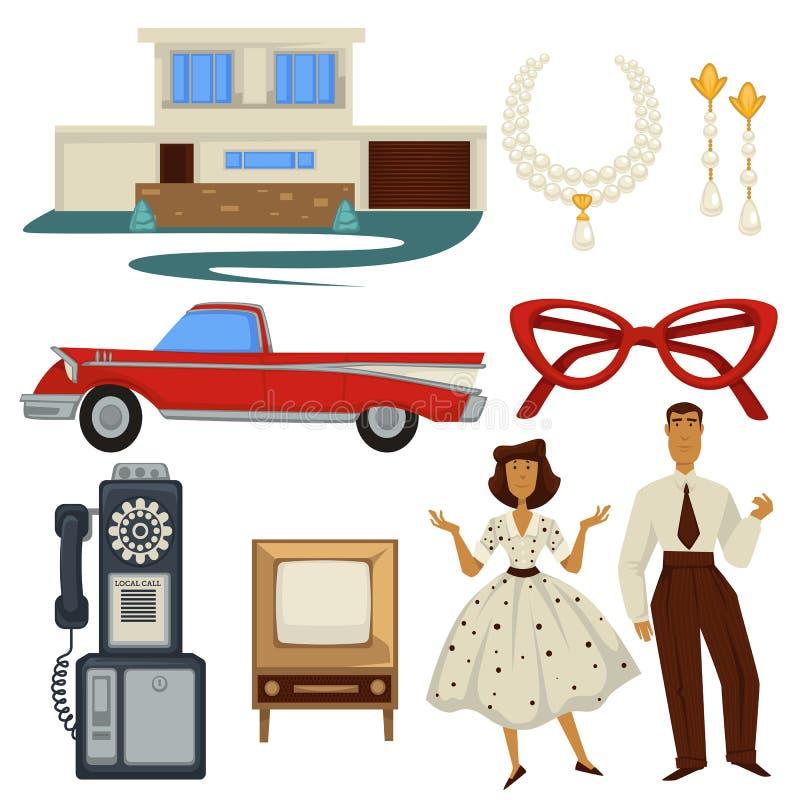 1950s mody architektura, styl, epoka symbole, technologia i samochód i, ilustracji
