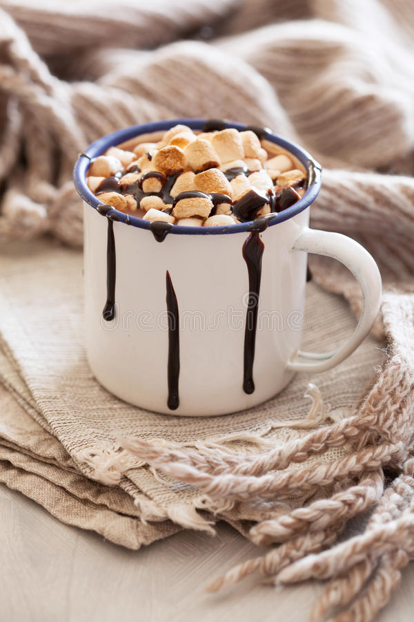 S`mores hot chocolate mini marshmallows cinnamon winter drink.  royalty free stock photography