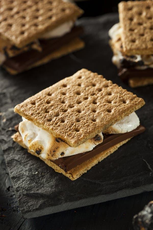 S'mores mit Eibischen Schokolade und Graham Crackers lizenzfreies stockfoto
