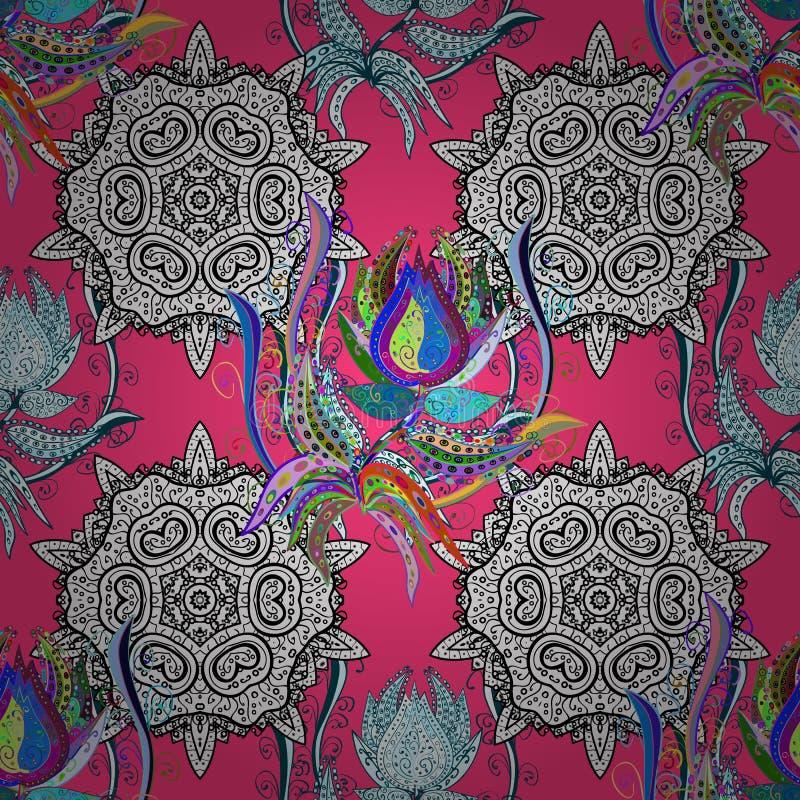 1950s-1960s motywy Retro tekstylna projekt kolekcja Jedwabniczy szalik z kwitnienie kwiatami Abstrakcjonistyczny bezszwowy wzór z royalty ilustracja