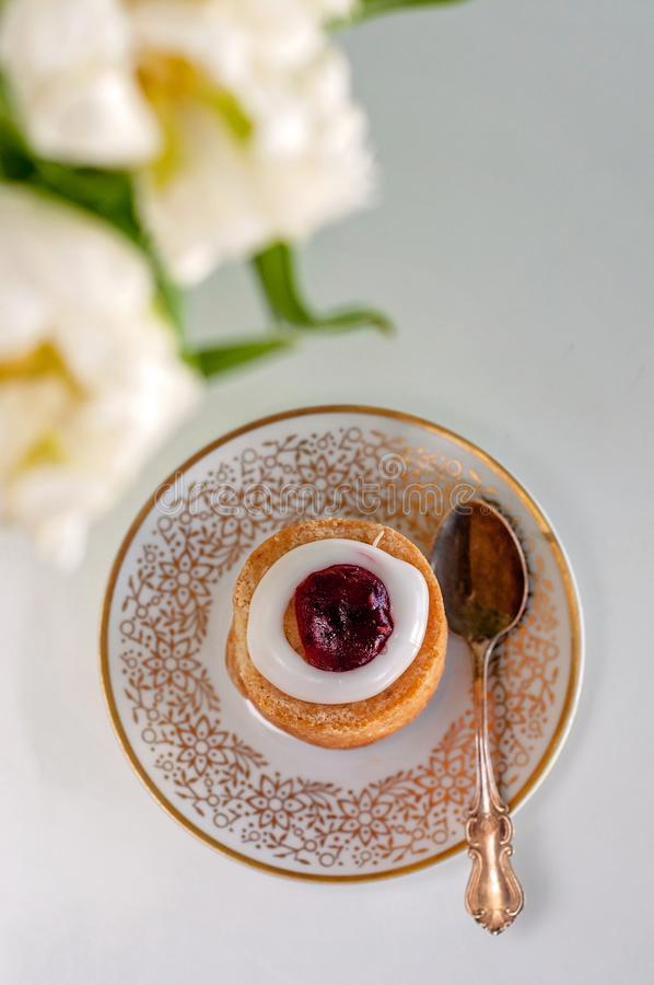 It`s my time! Runeberg`s tart or cake is a Finnish traditional d stock photo