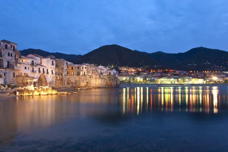 's nachts Cefalù royalty-vrije stock foto