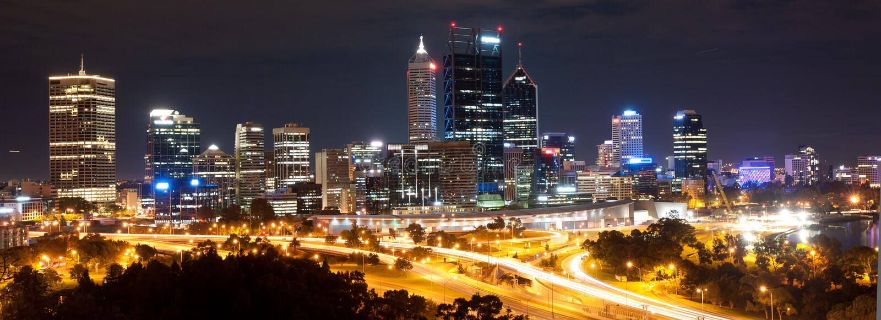 's nachts Cityscape van Perth stock foto