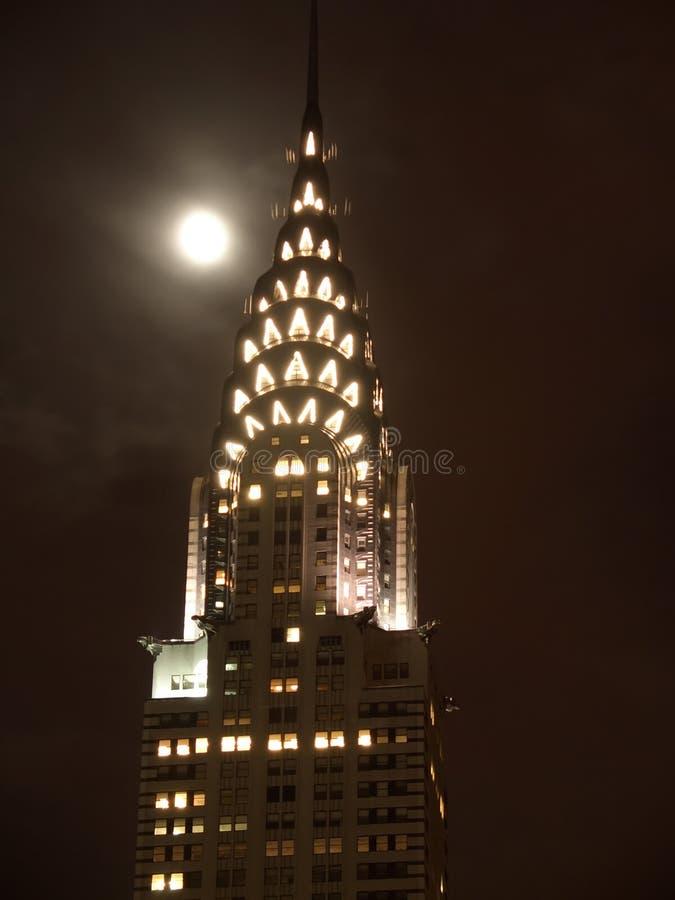 's nachts de bovenkant van de Bouw van Chrysler stock foto