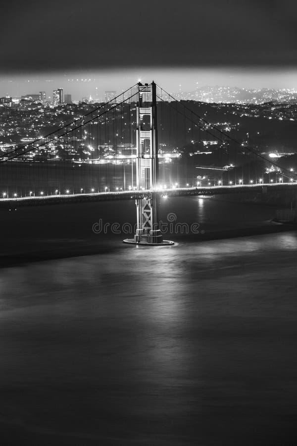 's nachts de brug van San Francisco Golden Gate stock afbeeldingen
