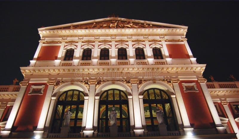 's nachts de Concertzaal van Wenen stock fotografie