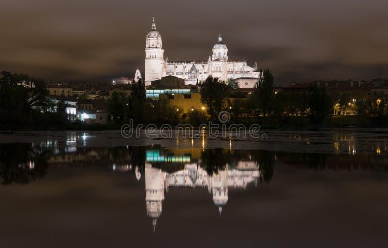 's nachts de Kathedraal van Salamanca stock fotografie