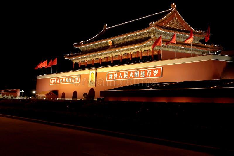 's nachts de Poort van Tienanmen royalty-vrije stock afbeelding