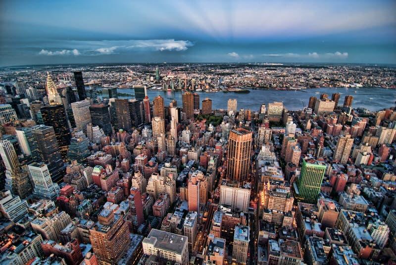 's nachts de Stad van New York royalty-vrije stock foto