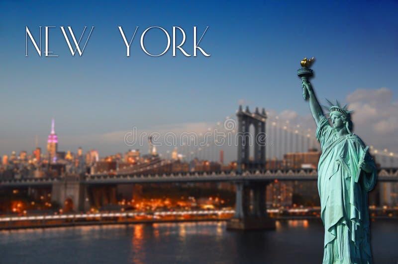 's nachts de stad van New York royalty-vrije stock fotografie