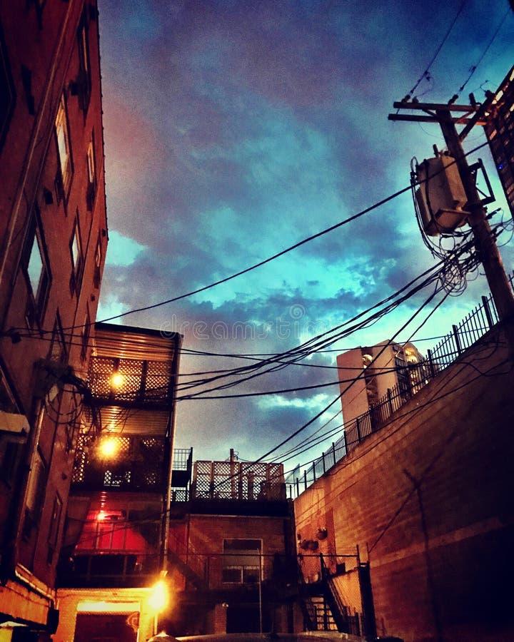 's nachts de Steeg van Chicago stock afbeeldingen