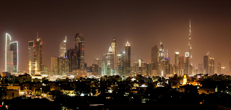 's nachts Doubai stock foto