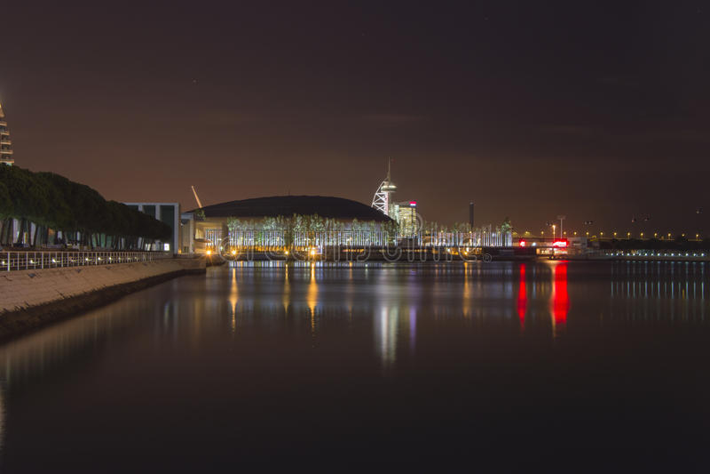 's nachts Expo royalty-vrije stock afbeelding