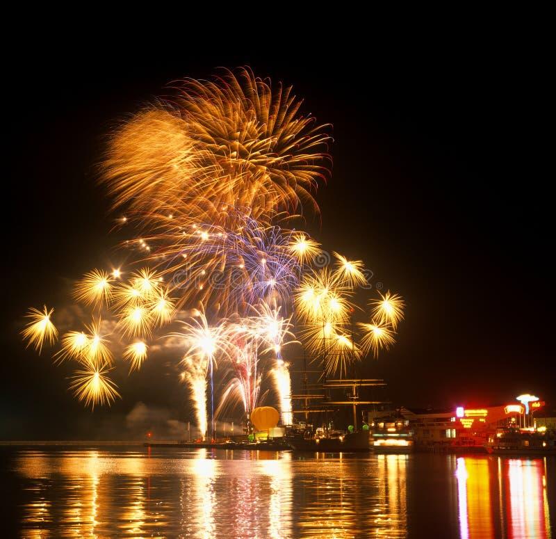 's nachts Gdynia stock fotografie