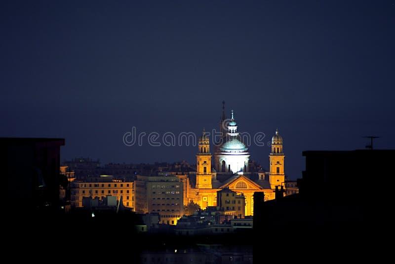 's nachts Genua royalty-vrije stock afbeelding
