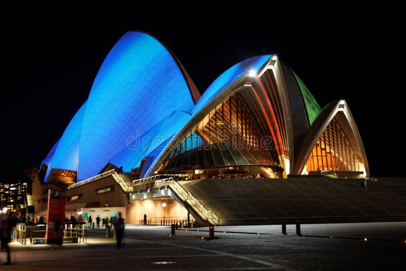 's nachts het Huis van de Opera van Sydney stock foto
