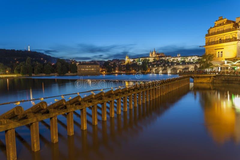 's nachts het kasteel van Praag royalty-vrije stock foto