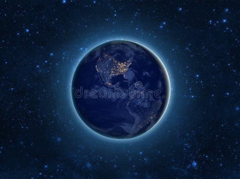 's nachts het Model van de bolaarde Elementen van beeld door NASA worden geleverd die vector illustratie