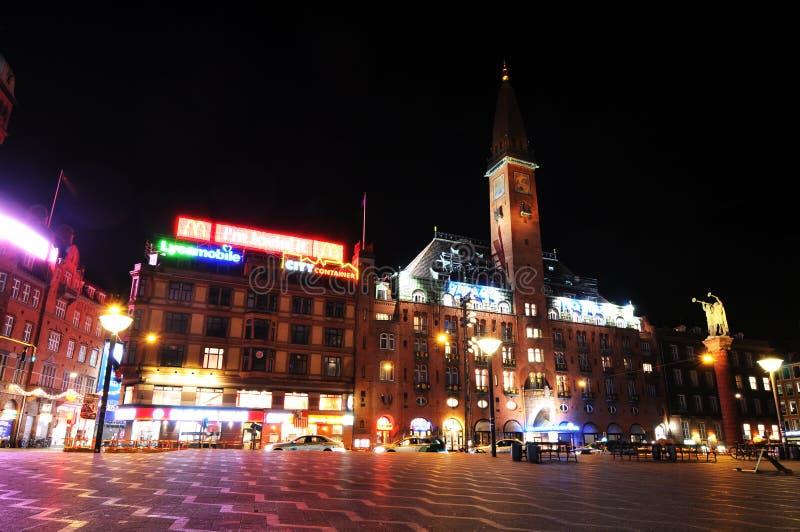 's nachts Kopenhagen royalty-vrije stock foto