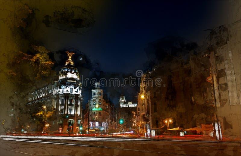 's nachts Madrid stock illustratie