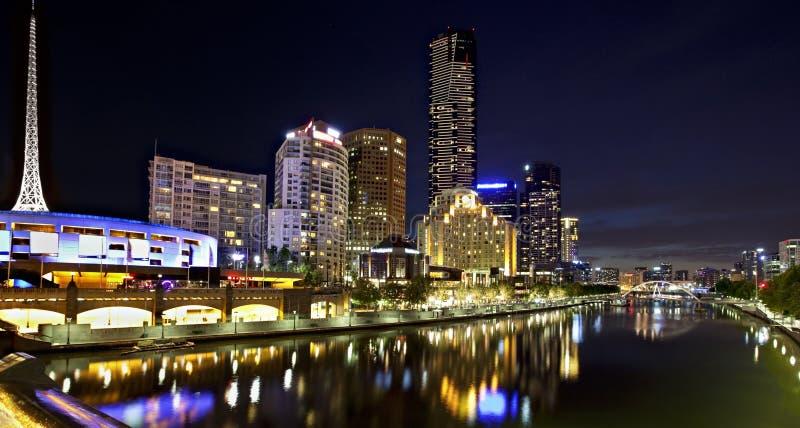 's nachts Melbourne stock foto's