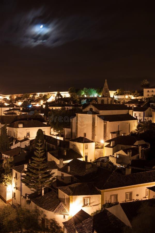 S Nachts Obidos Stock Fotografie