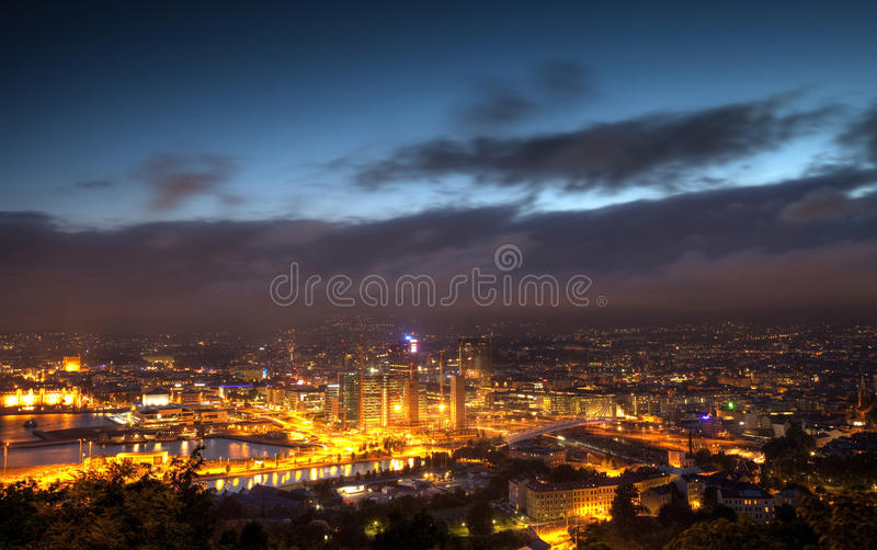 's nachts Oslo royalty-vrije stock fotografie
