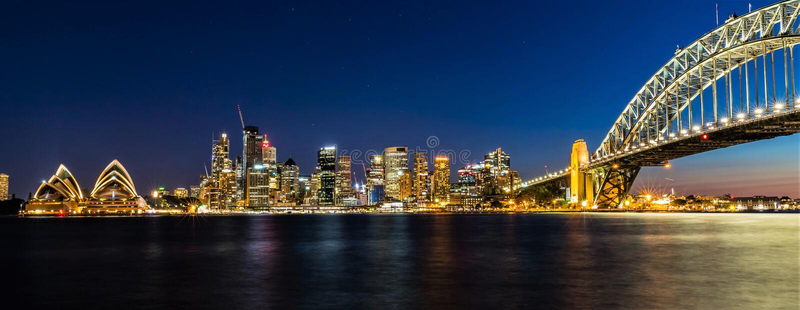 's nachts panoramisch Sydney Harbour, Australië royalty-vrije stock fotografie