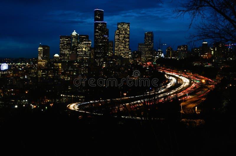 's nachts Seattle royalty-vrije stock afbeeldingen
