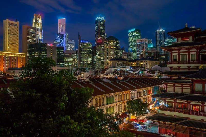 's nachts Singapore stock afbeelding