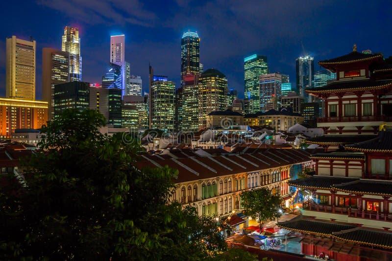 's nachts Singapore royalty-vrije stock foto