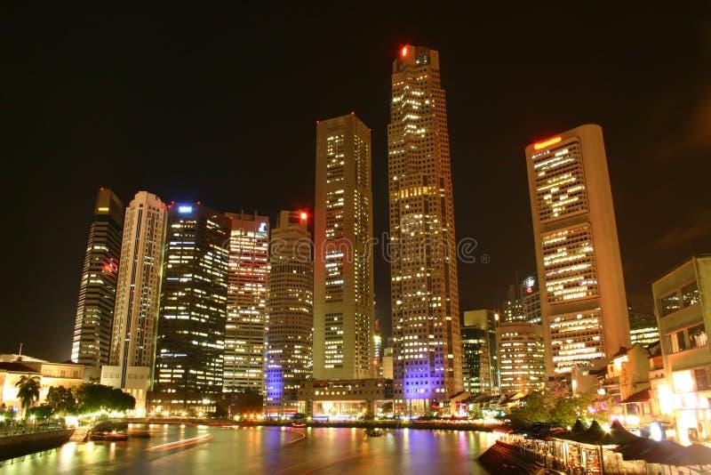 's nachts Singapore royalty-vrije stock afbeeldingen