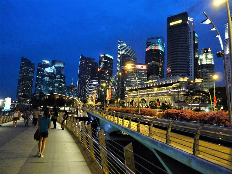 's nachts Singapore royalty-vrije stock fotografie