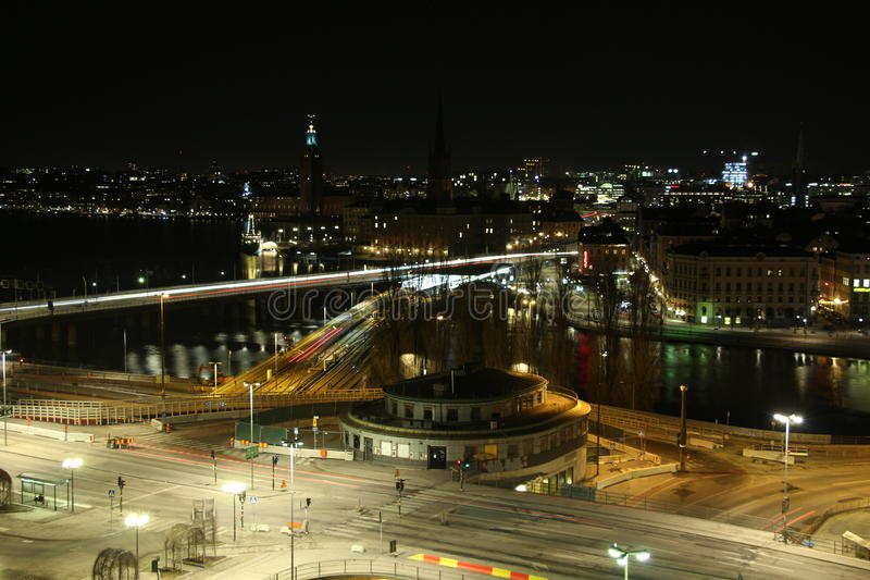 's nachts Stockholm royalty-vrije stock fotografie