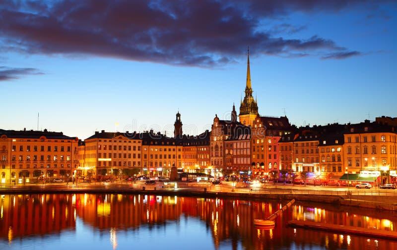 's nachts Stockholm royalty-vrije stock afbeeldingen