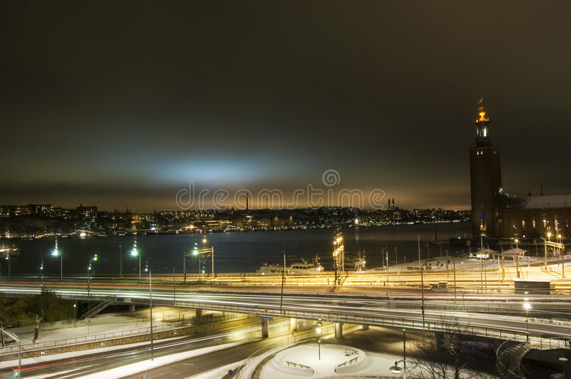 's nachts Stockholm royalty-vrije stock foto